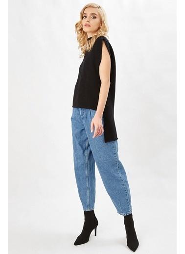 Peraluna Peraluna Siyah Renk Arkası Uzun Sıfır Kol Kadın Triko Tunik Siyah
